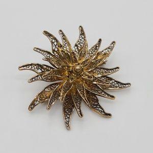 Vintage Silver Gold Washed Filigree Brooch / Pin